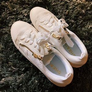 White and Gold SheIn Sneakers with Zipper